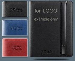 Logo personnalisé faisant le coût seulement pour le dossier de dossier en cuir d'unité centrale planificateur de cahier padfolio sac à main porte-documents dossier de conférence