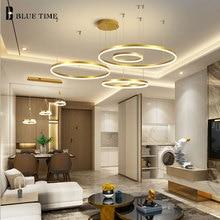 60CM 80CM 100CM Modern Pendant Lights For Living Room Dining Circle Rings Acrylic Aluminum Body LED Ceiling Lamp Fixtures