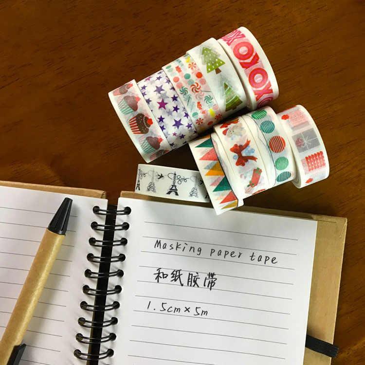 2 M/5 M * 15MM bande de Washi d'air festif papier japonais planificateur de bricolage ruban de masquage rubans adhésifs autocollants rubans de papeterie décoratifs