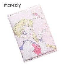 Case-Card Id-Holders Passport-Cover Travel Sailor-Moon Women Cartoon Cute Fashion PU