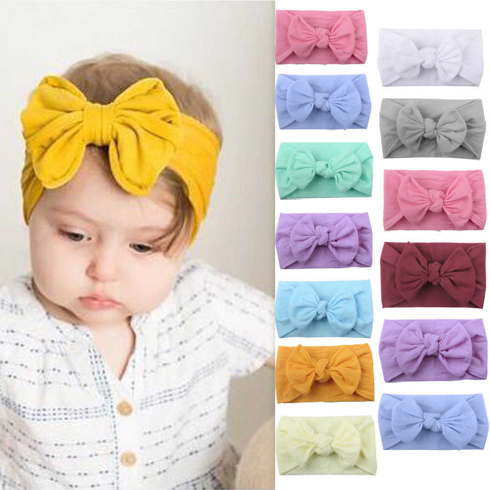 Newborn Infant Baby Girl Headband Head Wraps Rabbit Big Bow Knot Turbans Headwear Hair Accessories 0-2Y