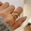 HUANZHI 2020 Новое корейское простое блестящее металлическое кольцо с цирконием для женщин и девочек, вечерние ювелирные изделия, подарки