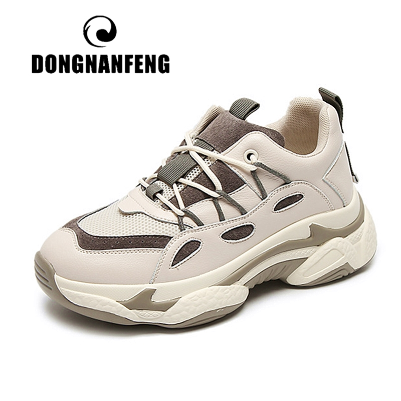 DONGNANFENG Women Girl Female Ladies Vulcanized Shoes Sneakers Sports Lace Up Mesh Genuine Leather Increase Breathable YDL-G507