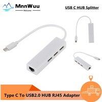 3 Ports USB 2,0 HUB Typ C Zu Ethernet LAN RJ45 Kabel Adapter Netzwerk Karte High Speed Daten Transfer Adapter für Macbook