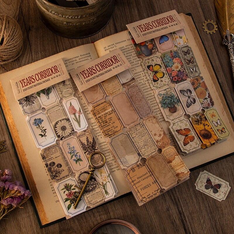 30 шт./пакет в винтажном стиле в виде бабочек с буквенным принтом билета бумаги наклейки пакет DIY Дневник украшения этикетка наклейка альбом ...