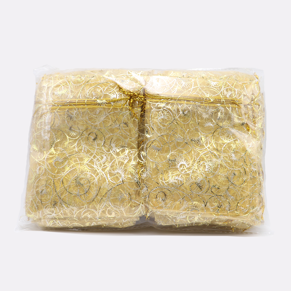 50/100pcs Gold Organza Jewelry Pouches 12x9cm Champagne Candy Jewelry Packaging Bags Wedding Party Favor Bags Gift Bag Eyelash