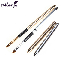 Monja Gold Silver Collapsible Lips Makeup Brush Pen Metal Handle Lipgloss Lipstick Lip Gloss Brush With Protect Cap Beauty Tools