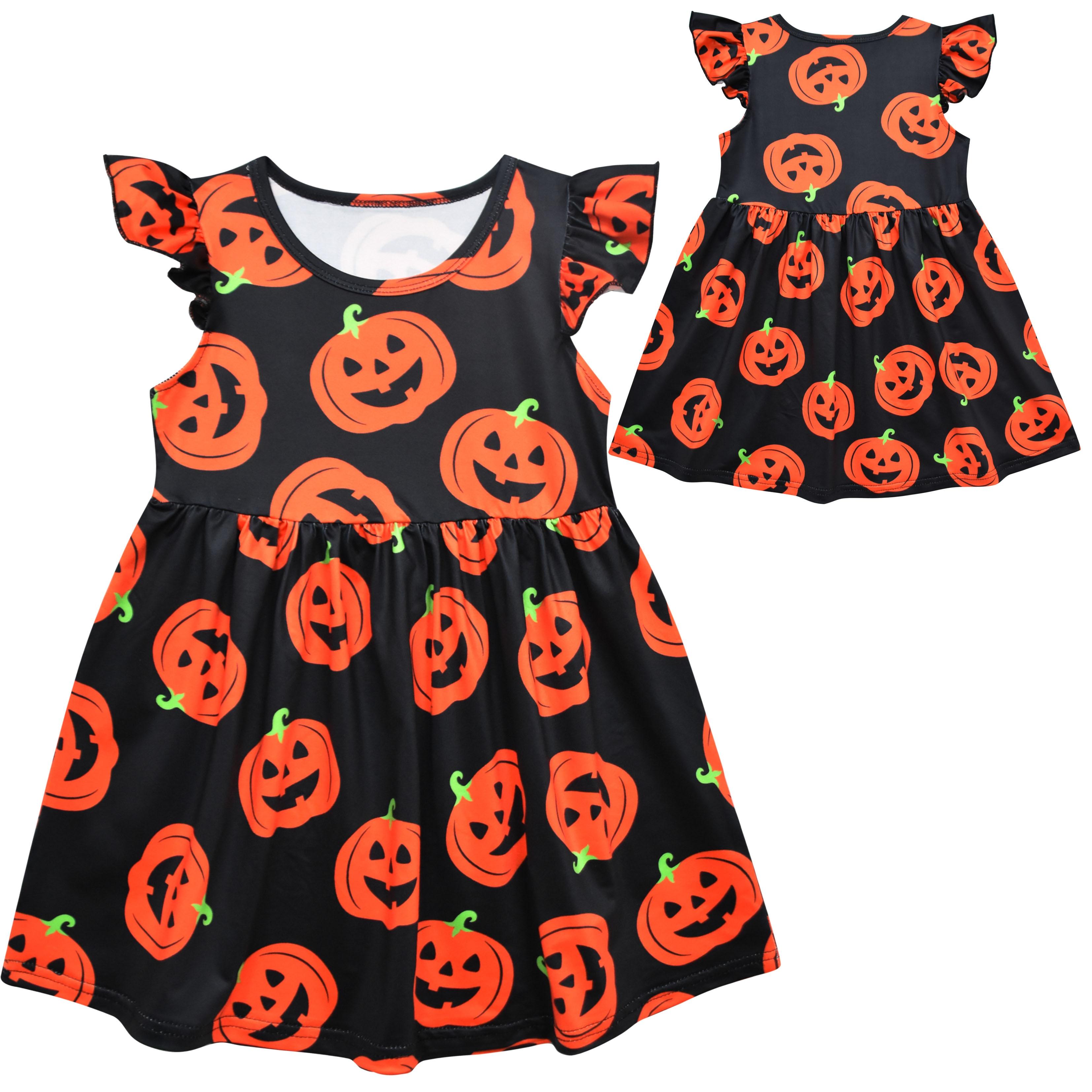 Girls Halloween Pumpkin Dress Flutter Sleeve Printed baby girl clothes