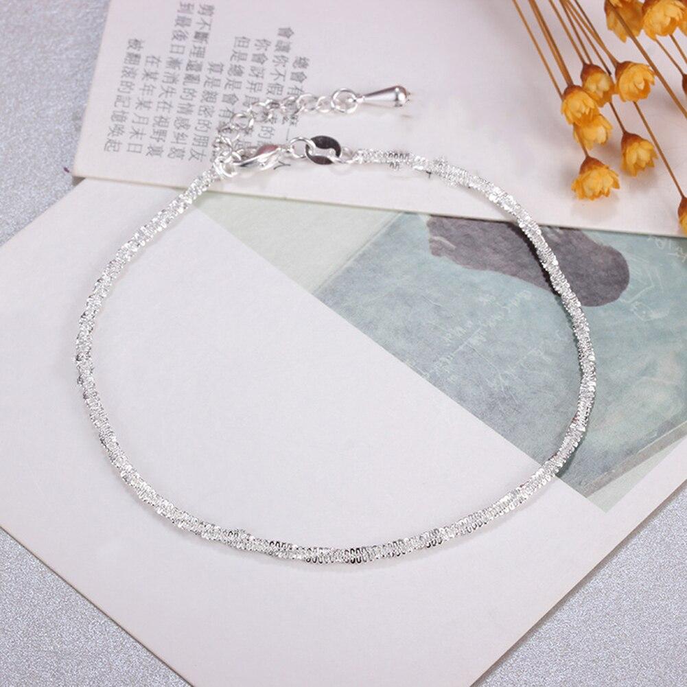 Thin silver plated Shiny Chains Anklet For Women Girls Friend Foot Jewelry Leg Bracelet Barefoot Tobillera de Prata