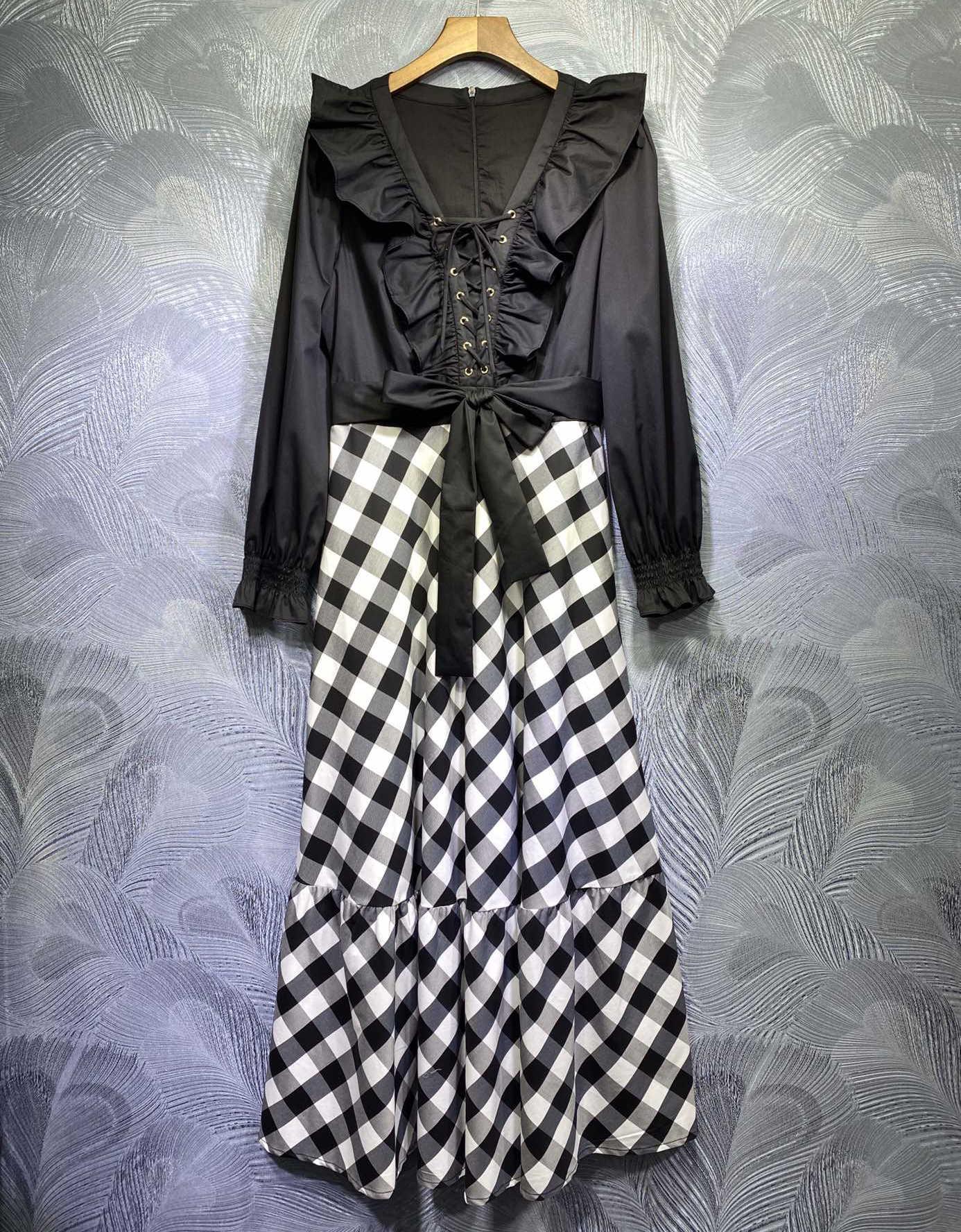 10,7 herbst neue 2020 mode elegante kleider retro v-ausschnitt lace-up mit  rüschen plaid patchwork bogen lange hülse mid-kalb kleid damen
