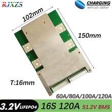 Bms 16s 80a/100a/120a 16s 48v versão s lifepo4 bms/pcm/pcb placa de bateria para lifepo4 pilha de bateria com equilíbrio