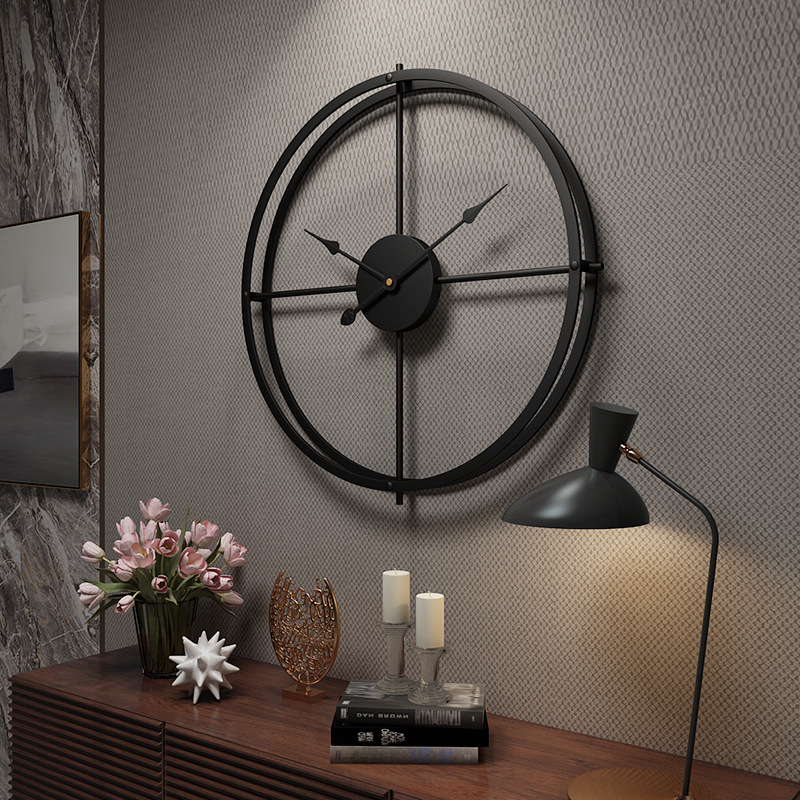 Creative Large Vintage Metal Wall Clock Modern Design For Home Office Decor Hanging Living Room Classic Brief Metal Wall Watch