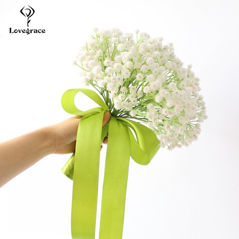 White Gypsophila Wedding Bridal Hand-Hold Bouquet With Green Stain PU Artificial Flowers Bridal Bouquets For Wedding Accessories