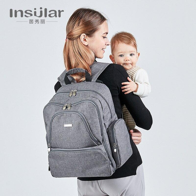 Insular Multi-functional Large-Volume Mummy Backpack Waterproof Cotton Linen Mom And Baby Nursing Backpack Shoulder Mommy Bag Ba