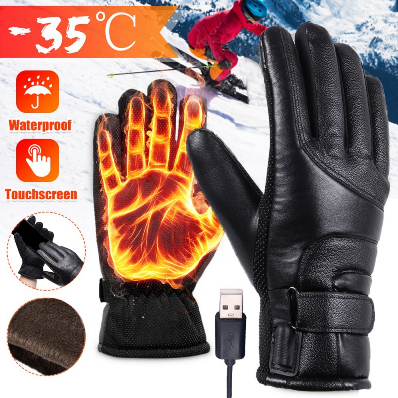 USB Plug Electric Heated Gloves Windproof With Touchscreen Finger For Men Women Winter Hands Warmer Thermal Gloves