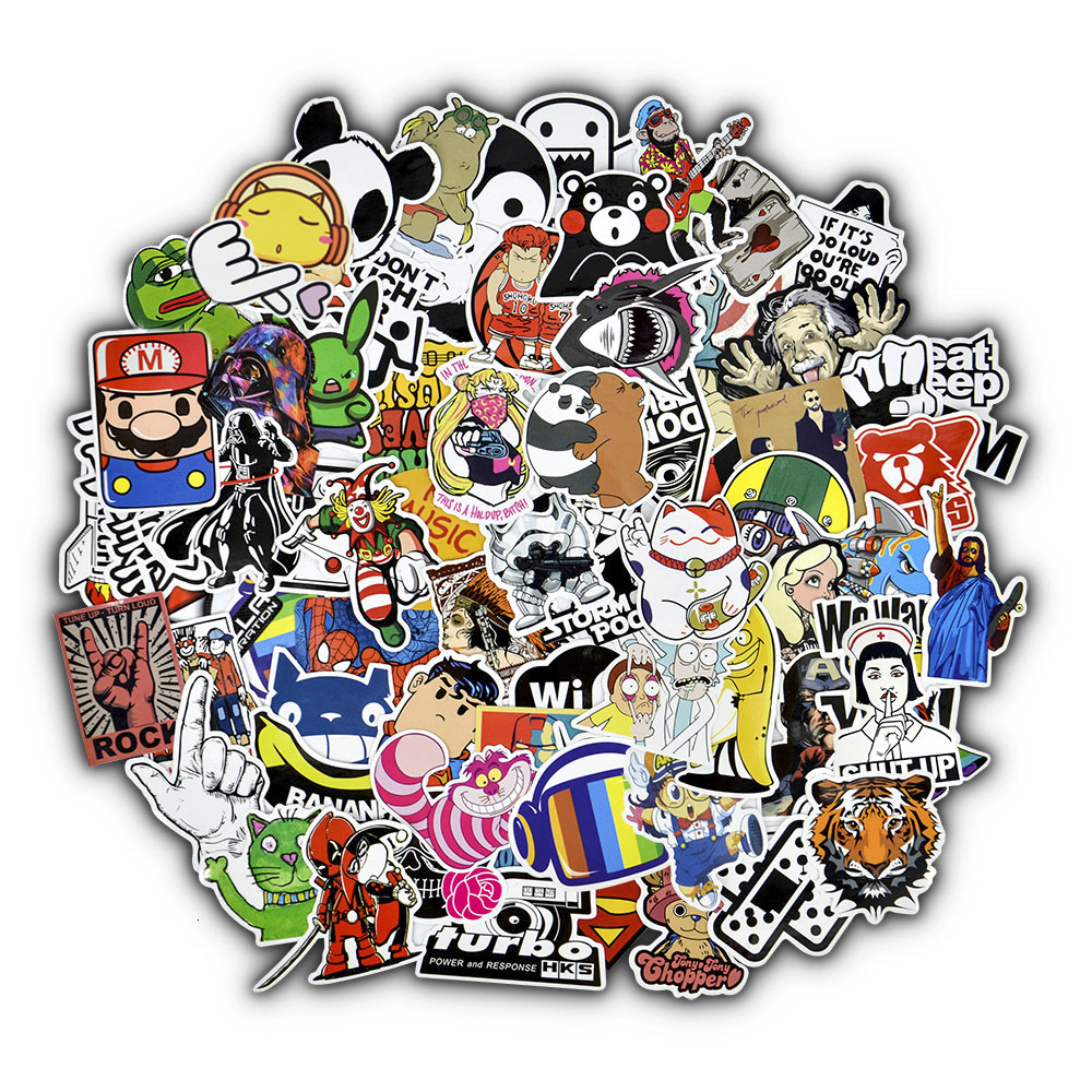 50 Random Stickers, Mixed Cartoon Toy Stickers, Cars, Bicycles, Motorcycles, Phones, Laptops, Travel Cool And Funny