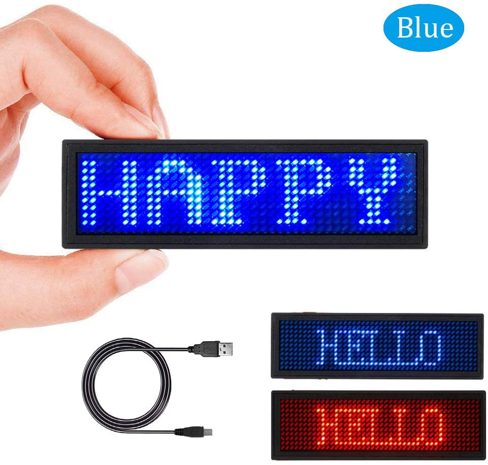 LED Name Tag LED Name Badge Rechargeable LED Business Card Sign With 44x11 Pixel USB Programming Digital Display For  Hotel-Blue