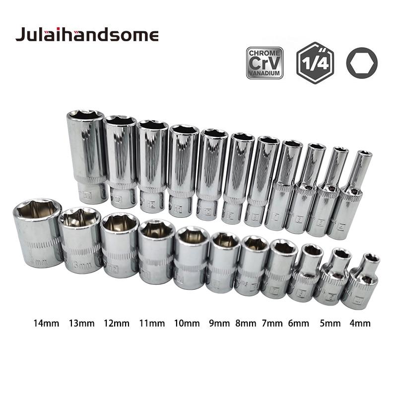 1/4 Inch Drive Sockets Set 6 Point Deep/ Short  Sockets 4mm 5mm 6mm 7mm 8mm 9mm 10mm 11mm 12mm 13mm 14mm CRV Hand Tools