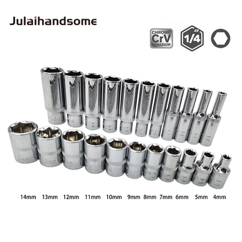 1/4 Inch Drive Sockets Set 6 Point Deep/ Short  Sockets 4mm 5mm 6mm 7mm 8mm 9mm 10mm 11mm 12mm 13mm 14mm CRV Hand Tools set of sockets matrix 13557