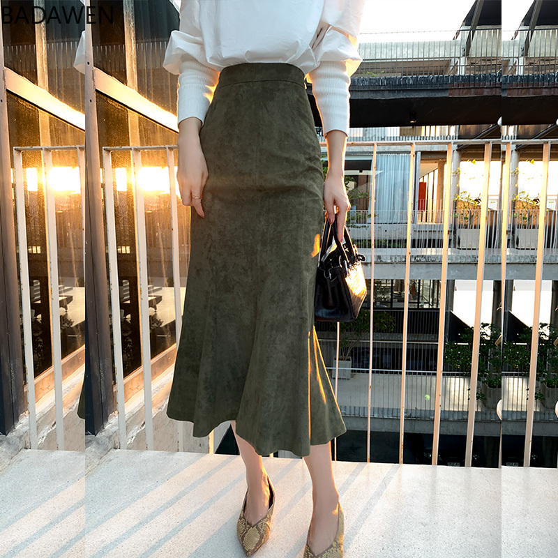 2020 New Fashion Women Long Skirts Vintage Mermaid High Waist Solid Color Package Hip Slim Tight Fishtail Office Lady for Winter