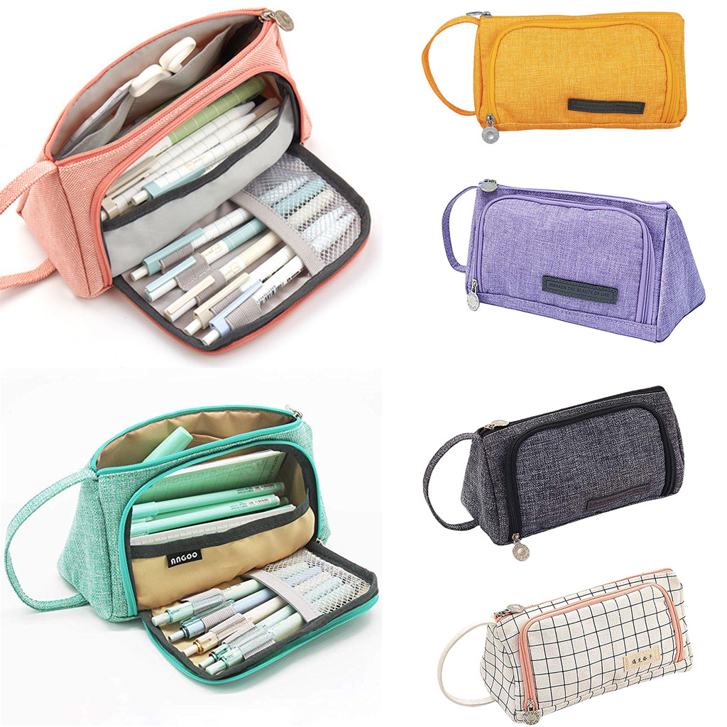 Cosmetic Bag Pencil-Case Canvas Wholesale Large-Capacity Unisex Student Stationery-Bag