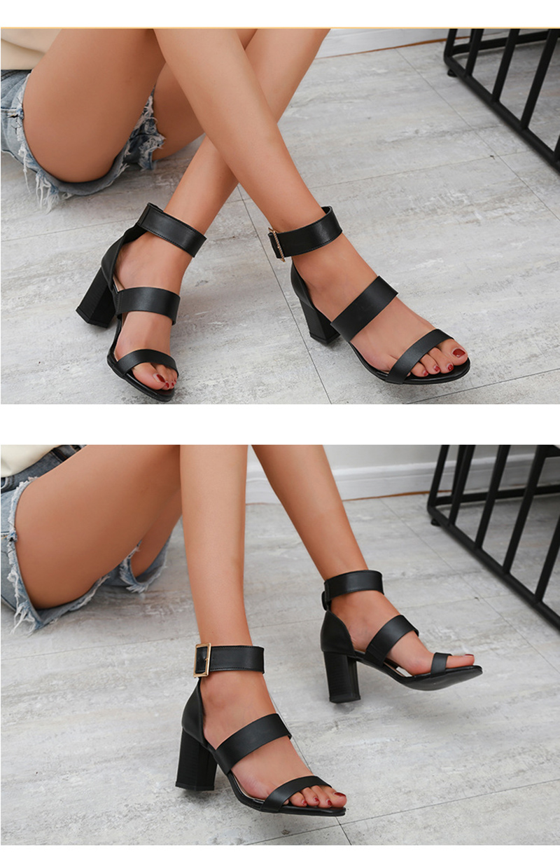 SWQZVT 2020 Summer New Thick High-heel Ankle Buckle Sandals Women Comfort Casual Women Sandals Party Female Shoes (3)