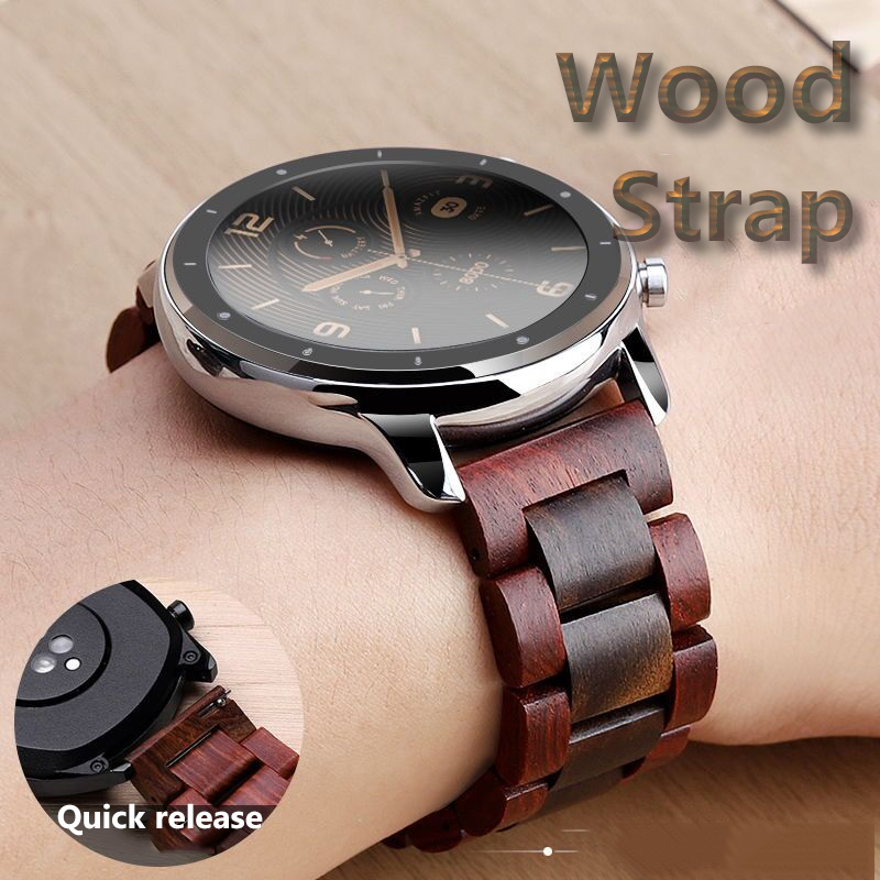20mm 22mm Wood Watch Band For Huawei Watch GT / Galaxy 42/46mm Stainless Steel Strap Replacement Bracelet For Gear S3 S2 Loop