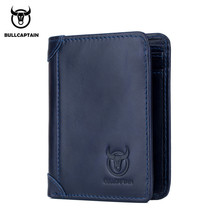 BULLCAPTAIN Genuine leather Men Wallet Vintage Purse Card Holder Natural Leather Short Men Wallets Dollar Price Male Purse Gift