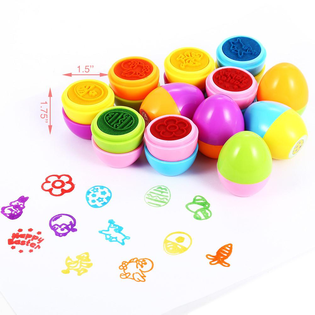 GloryStar 12Pcs Children Kid Creative Colorful Happy Easter Egg Stamper Toy Set For Party Game Gift
