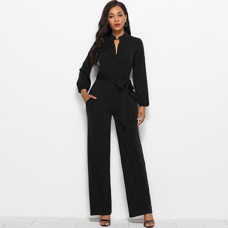 Rompers Womens Jumpsuit Female Dungarees High Neck Button Long Sleeve Wide Leg Pants Playsuit Elegant Ladies Office Ladies Wear
