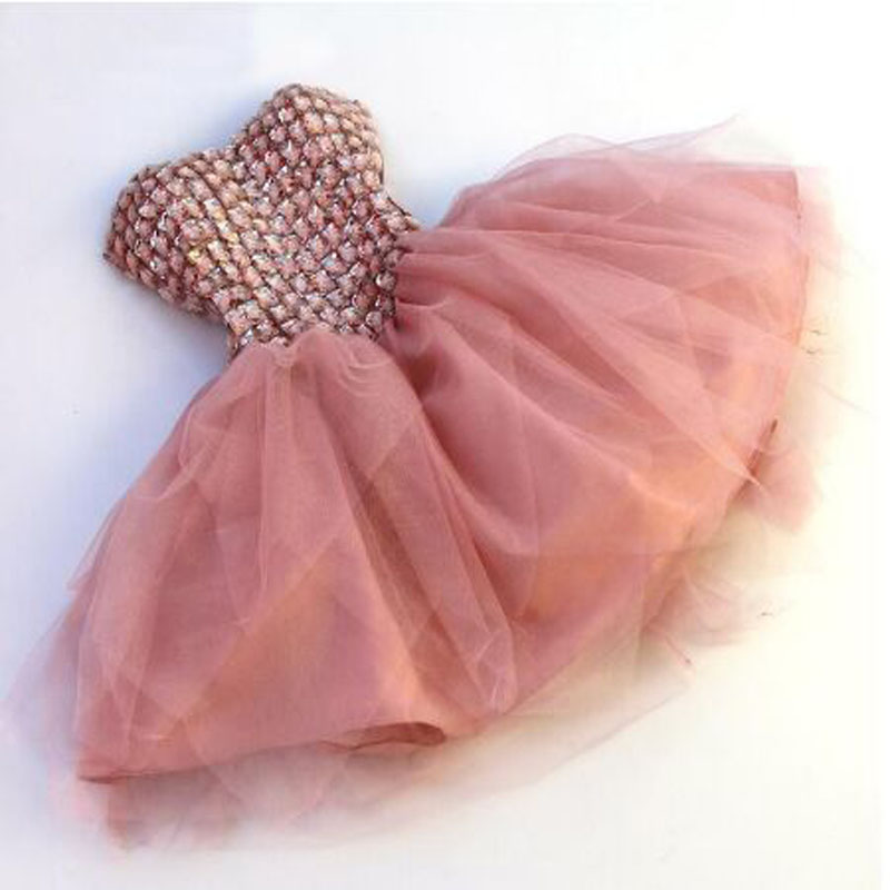 Pink Beading Draped Crystal A-line Cocktail Dresses Simple Sleeveless Sweetheart Neck Mini Tulle Party Gown коктейльное платье