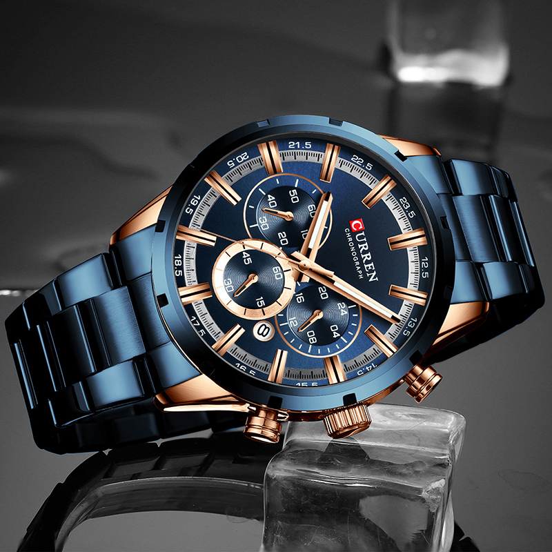 Image 2 - CURREN Men Watch Top Brand Luxury Sports Quartz Mens Watches Full Steel Waterproof Chronograph Wristwatch Men Relogio Masculino-in Quartz Watches from Watches