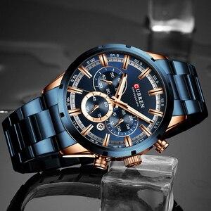 Image 2 - CURREN Relógio de pulso esportivo de luxo de quartzo para homens, a prova dágua, cronógrafo, todo de aço, masculino