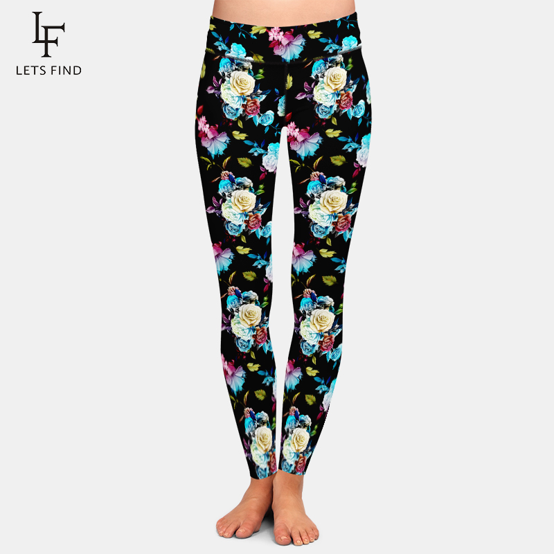 LETSFIND Hot New Trends 2020 Women Leggings Roses And Peony Print High Waist Plus Size Leggings Soft Slim Fitness Pants