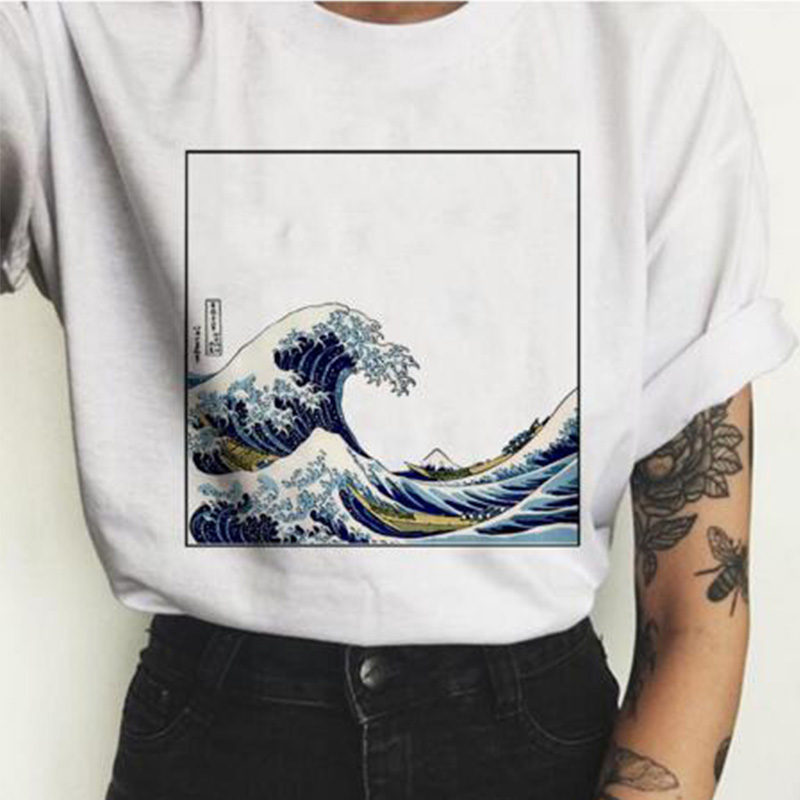 White Japanese Wave Print Tshirt Women Fashion Casual Slim T-shirts Harajuku Tide Sexy Short-sleeved O-neck Tops Tee Shirt Femme
