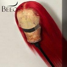 Beeos cor vermelha 13*6 parte profunda frente do laço perucas de cabelo humano em linha reta peruano remy perucas de cabelo humano pré arrancado