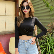 2019 Cotton Long Sleeve Crop Top O-neck Knot Sexy Crop Top Women White Tee Shirt Autumn Elastic Basic Essentials Female Shirts knot front spot crop top