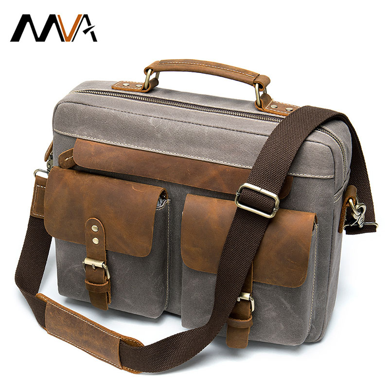 Fashion Retro Men's Briefcase Business Leather With Canvas Handbag Case For Document Laptop Portfolio Men Messenger Shoulder Bag