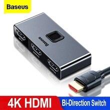 Baseus HDMI anahtarı 4K 60Hz HDMI Switcher 2 limanlar bi yön 1x 2/2x1 adaptörü 2 in 1 out HDMI dönüştürücü için PS4 Pro/4/3 TV kutusu