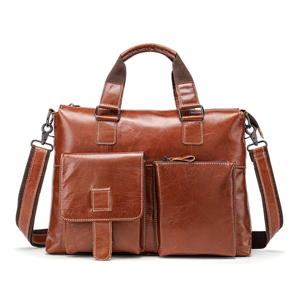 Genuine Leather Male Package Leisure Time Business Affairs Man Handbag Document Layer Cowhide Man Single Shoulder Computer Bag