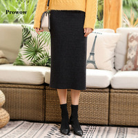 Prowow Inner Velvet Winter Skirt Women Thicken Warm Faux Mink Fur Pencil Skirts Office Ladies Solid Color Winter One Step Skirt
