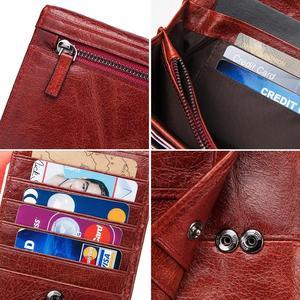 Image 5 - 100% Genuine Leather Women Clutch Wallet Female Coin Purse Portomonee Clamp For Phone Bag Card Holder Handy Passport Holder Blue