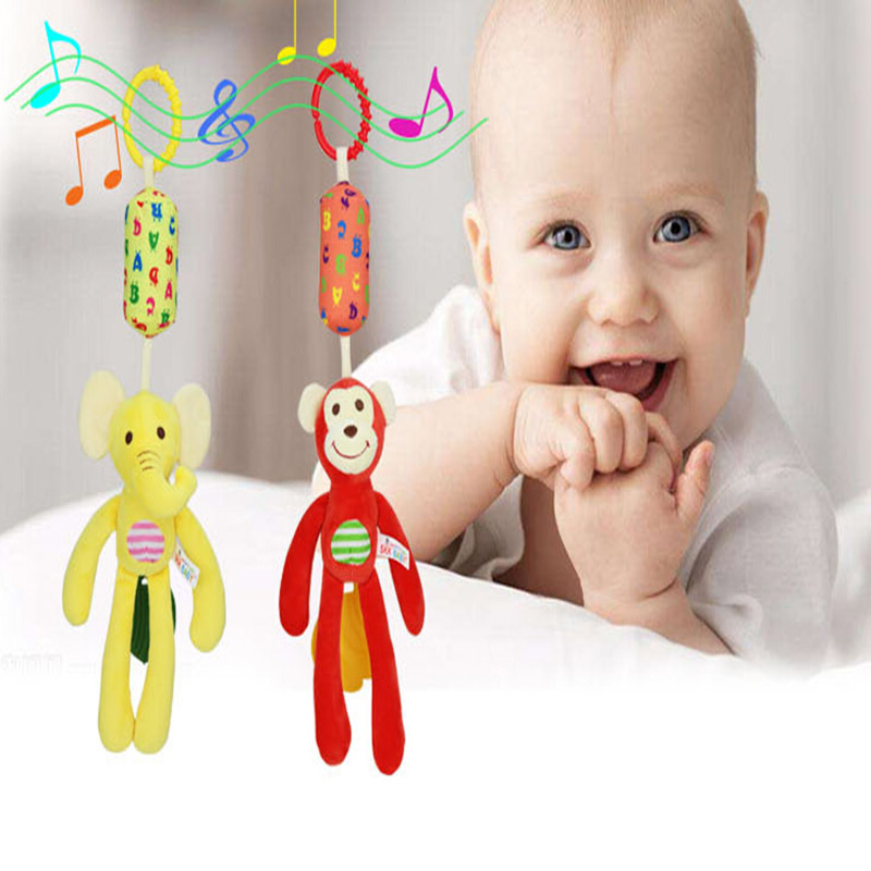 Cute Baby Toy Cartoon Animal Wind Chime Newborn Toddler Kids Stroller Bed Around Hanging Bell Rattle Activity Soft Plush Toys