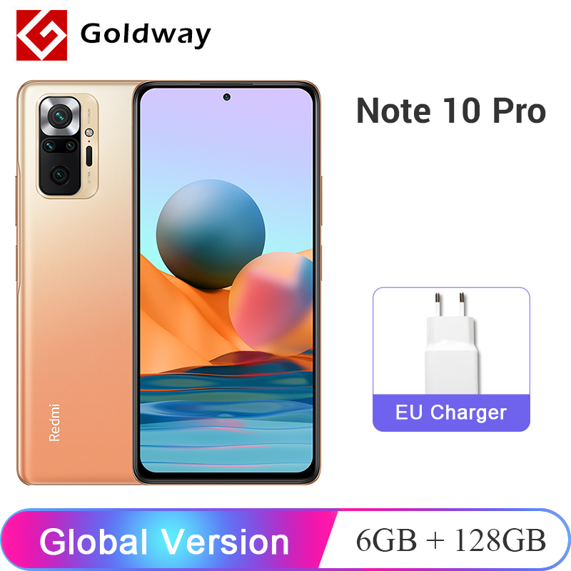 Versión Global Xiaomi Redmi Nota 10 Pro 6GB de RAM 128GB ROM Smartphone 108MP Quad Cámara Snapdragon 732G 120Hz AMOLED NFC