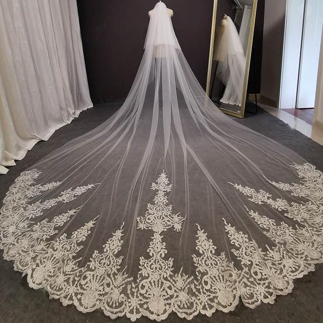 Fotos reais 2 camadas longo véu de casamento 4 m laço véu nupcial com blusher 2 t branco marfim alta qualidade véu para a noiva 1