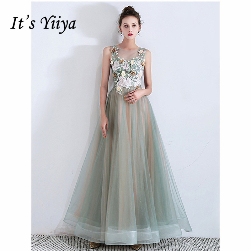 It's Yiiya Evening Dress 2019 Sleeveless Floral Print A-Line Floor Length Dresses Elegant Flowers Party Long Formal Gowns E1057