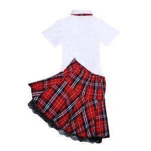 Image 5 - セクシーな女性のエロランジェリー日本の女子高生のロールプレイング衣装女子校生制服シャツ & ミニスカートネクタイハロウィンコスプレ