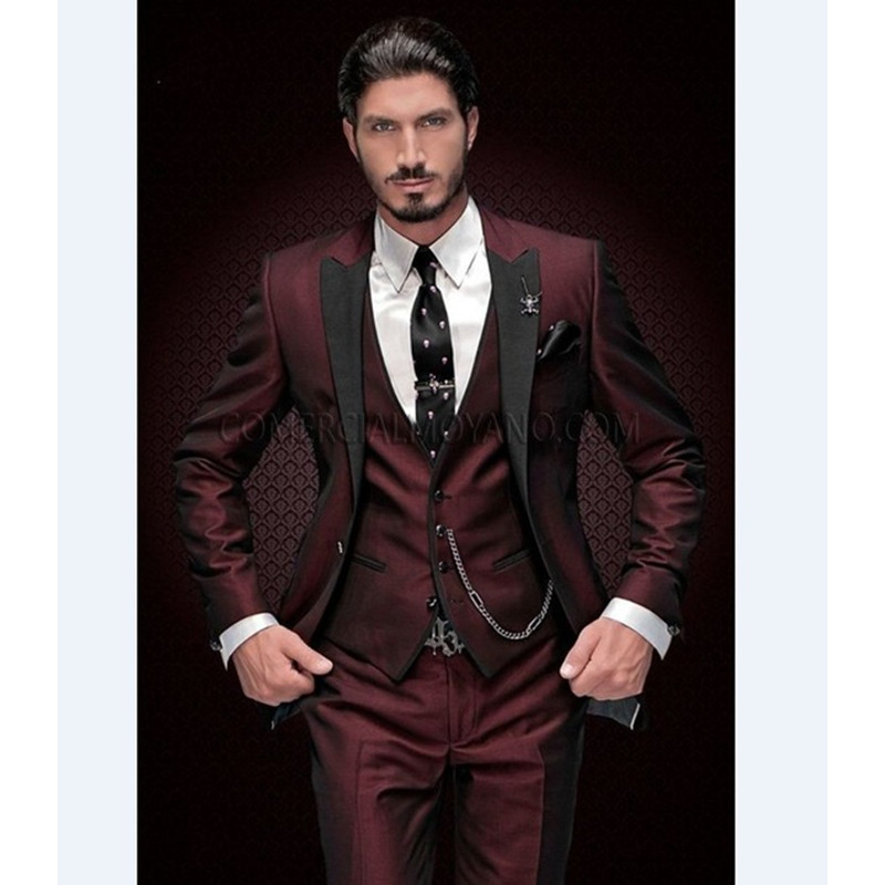 New Arrival Groomsmen Peak Black Lapel Groom Tuxedos Burgundy Men Suits Wedding Best Man Blazer (Jacket+Pants+Vest)