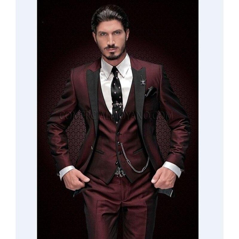 New Arrival Groomsmen Peak Black Lapel Groom Tuxedos Burgundy Men Suits Wedding Best Man Blazer (Jacket+Pants+Vest)