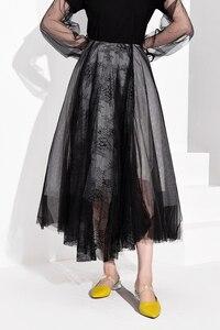 Image 3 - [EAM] High Waist Black Multilayer Mesh Split Joint Temperament Half body Skirt Women Fashion Tide New Spring Autumn 2020 JT1360